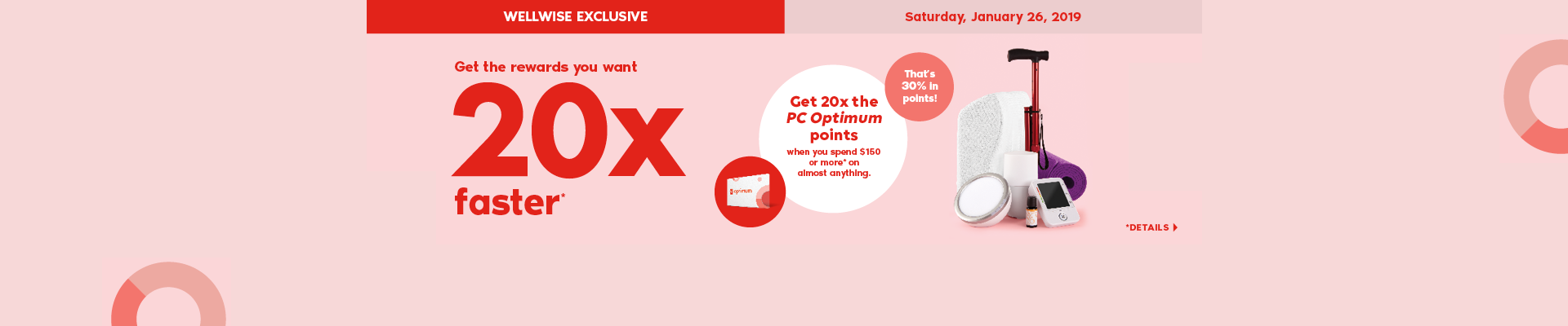 WELLWISE EXCLUSIVE. Saturday, January 26, 2019 Get the rewards you want 20x faster*. Get 20x the PC Optimum points when you spend $150 or more* on almost anything. That's 30% in points! *Details