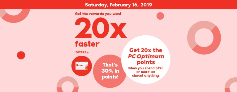 Saturday, February 16, 2019 Get the rewards you want 20x faster*. *Details. Get 20x the PC Optimum points when you spend $125 or more* on almost anything. That's 30% in points!