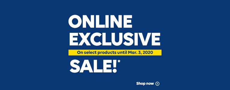 Online Exclusive Sale!* Limited Time, Selected Products. Shop now.