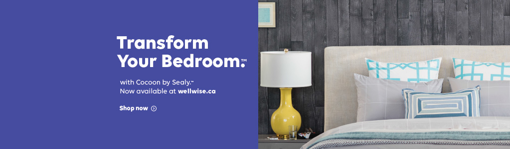 Transform Your Bedroom.TM with Cocoon by Sealy.TM Now available at wellwise.ca. Shop Now.