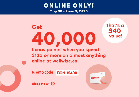May 30 - June 1, 2020. Online Only! Shopping Online has it's perks! Promo Code: BONUS40K. Shop now. Get 40,000 bonus points* when you spend $125 or more on almost anything online at wellwise.ca. That a $40 value!* DETAILS.