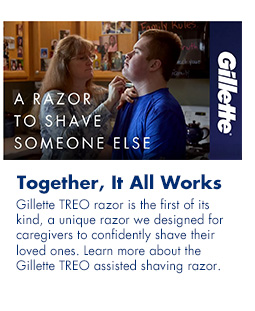 Together, It All Works. Gillette TREO is the first of its kind, a unique razor we designed for caregivers to confidently shave their loved ones. Learn more about the Gillette TREO assisted shaving razor.